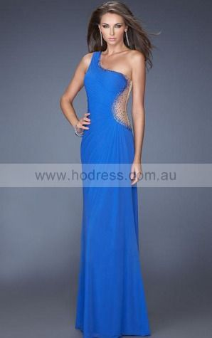 Sleeveless One Shoulder Yarn Chiffon Floor-length Formal Dresses zvh071--Hodress