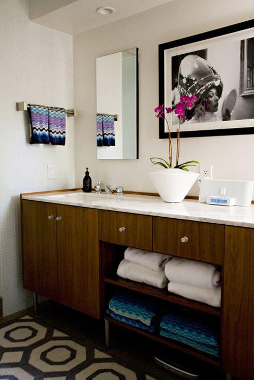 Missoni towels as the icing on the cake.: Missoni Bathroom, Bathroom Inspiration, Design Ideas, Bathroom Sinks Storage, Towels Storage, Bathroom Remodel, Missoni Towels, Hands Towels, Retro Bathroom