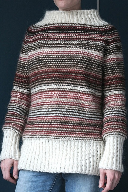 """I like it. Knitted from leftover balls of lopi. It's seamless and knitted on the """"wrong"""" side, then turned inside out when done! Colors chosen randomly."""