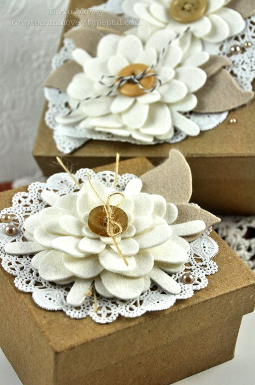 """I LOVE these flowers using my """"Frilly Flowers"""" dies. (Via Dawn McVey)  How fun to put these on a clip and then your package wrap becomes an accessory, too!"""