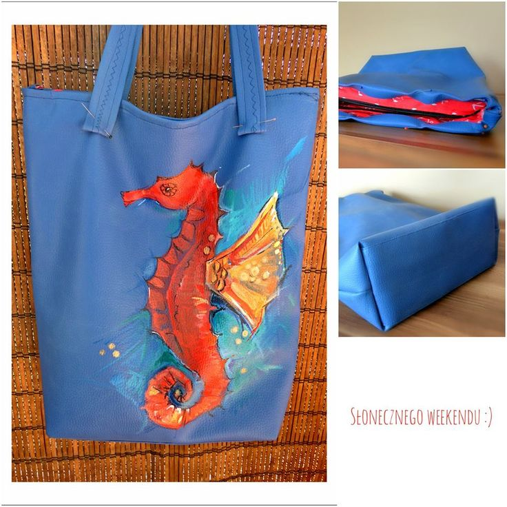 Blue hand made shopper bag. Handpainted bag with #seahorse #painted bag #idyll