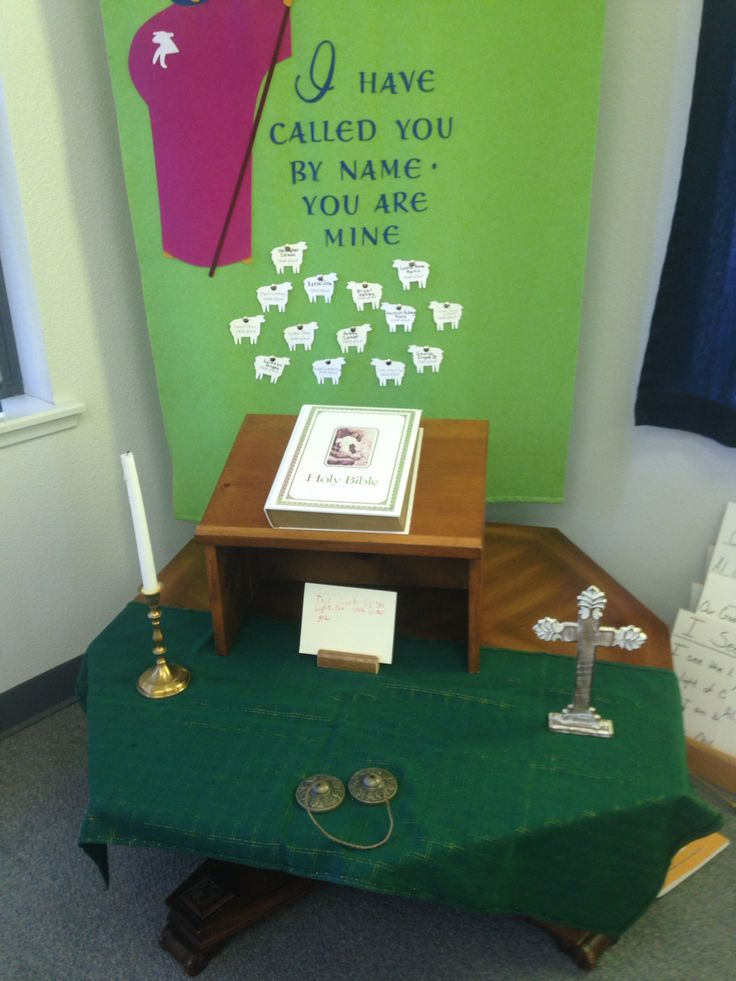 Prayer table after being set by the children. This Sunday they chose to set it up similar to the Enthronement of the Bible