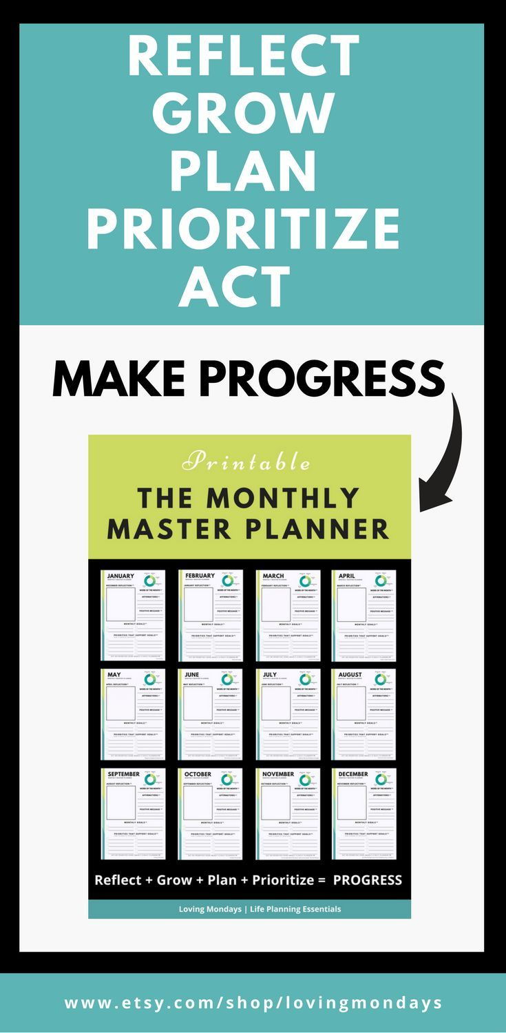 Taking action is only 50% of the planning 'cycle'. Use the MONTHLY MASTER PLANNING to work on the other 50% (reflecting, growing, planning and prioritizing). #plannerlove #reflection #monthlyreflection #monthlyplanning #monthlyplanner #makeprogress #printable #planningprintable #goalprintable #goalsetting