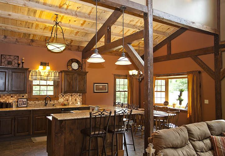 Wood horse barn homes media gallery featured projects for Interior pictures of post and beam homes
