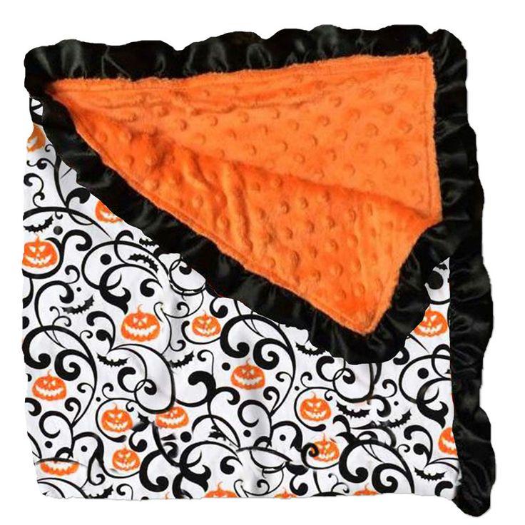 Orange Black Pumpkin Swirl Orange Minky Blanket