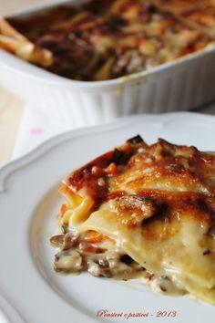 Lasagne bianche ai funghi e taleggio | pensieri e pasticci (da provare con anche il prosciutto cotto)