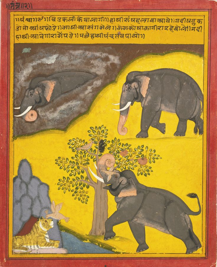 ILLUSTRATION TO THE PANCHATANTRA: THE ELEPHANTS WITH A TIGER AND A DEER IN A FOREST