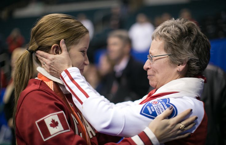Kaitlyn shares a moment with her mom after winning the olympic pre trials in Winnipeg