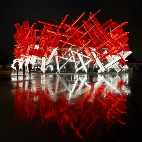 Here are some photographs of the recently completed Coca-Cola Beatbox,a pavilion in theLondon 2012Olympic park thatcan be played like a musical instrument (+ slideshow).