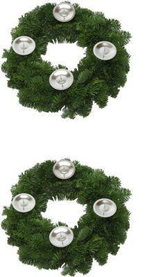 Adventskranz aus echtem Nobilisgrün, 2 Stück + 8 Kerzentellern, ohne Kerzen und Deko Jetzt bestellen unter: https://moebel.ladendirekt.de/weihnachten/adventskranz-leuchter/?uid=0b061782-68f6-5334-960f-738187cd3c73&utm_source=pinterest&utm_medium=pin&utm_campaign=boards #heim #weihnachten #adventskranzleuchter