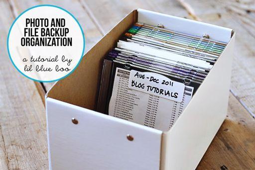 Easy File and Photo Backup Organization tutorial via lilblueboo.com