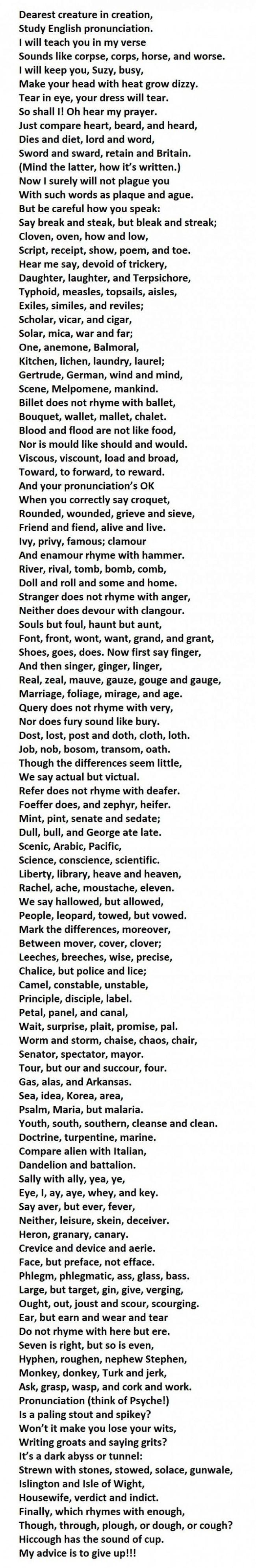 Poema acerca de las reglas de pronunciación compuesto por Dr. Gerald Nolst Trenité