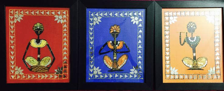 This is a original handmade acrylic painting with a mirror work ,3 piece painting which is been framed with an black wooden piece, This is an traditional Indian musical instrument based painting. | Shop this product here: spree.to/b646 | Shop all of our products at http://spreesy.com/jessycat    | Pinterest selling powered by Spreesy.com
