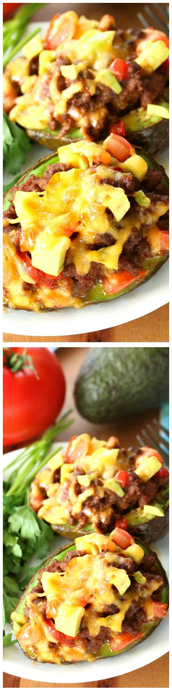 Avocado Stuffed Tacos - Fresh avocados stuffed with savory taco fillings. Easy to make, gluten free, and packed with protein! | @TheCozyCook on WholeYum.com