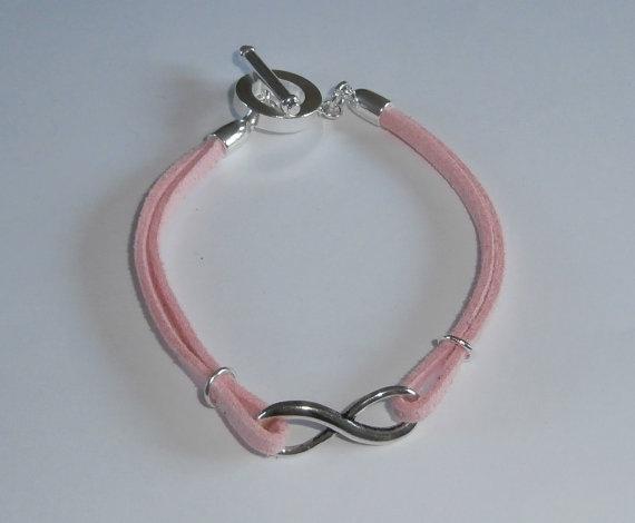 Pink Suede Infinity Bracelet by WearMyJewellery on Etsy, £5.00