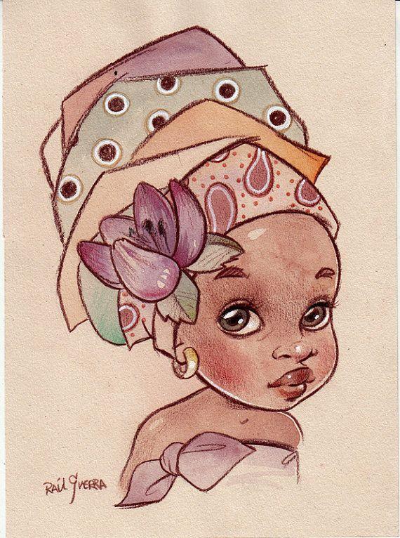 BELLA. Original African Babe Illustration by Raúl Guerra Más