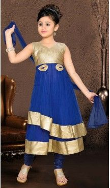 Girl's Incredible Blue color Art Silk Readymade Salwar Kameez in Embroidered…