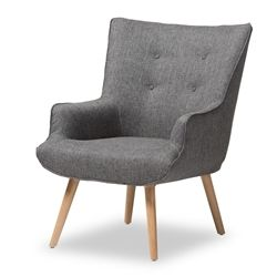 Baxton Studio Nola Mid-Century Inspired Grey Fabric Upholstered Occasional Armchair Affordable modern furniture in Chicago, classic living room furniture, modern accent chairs, cheap chairs