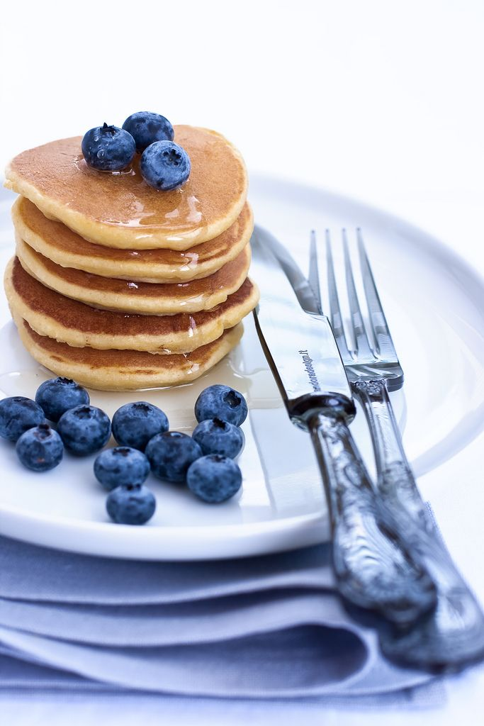 blueberries . pancakes. red, white and blue brunch