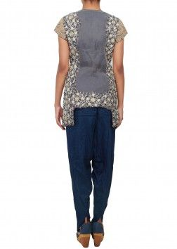 Straight fit suit embellished in french knot and zari only on Kalki