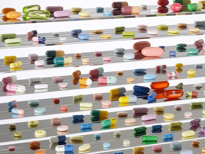 Part of the Damien Hirst retrospective going on show at Tate Modern on the 7 april 2012.