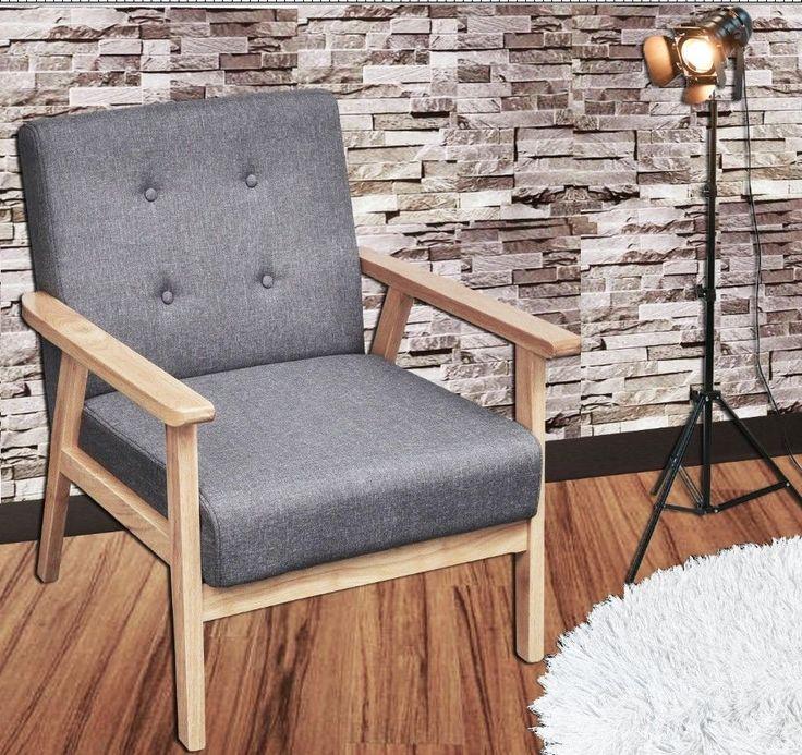 Grau Retro Sessel Vintage Wohnzimmer Stoffsessel Cocktailsessel Holzbeine Möbel