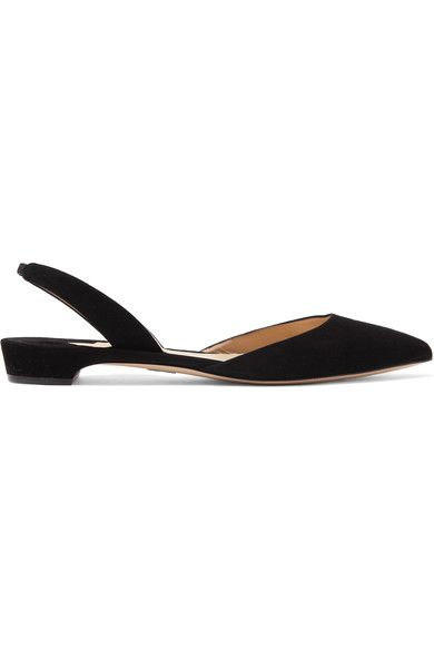 Paul Andrew - Rhea Suede Point-toe Flats - Black