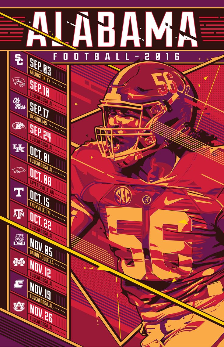 Alabama Football - 2016 Schedule on Behance