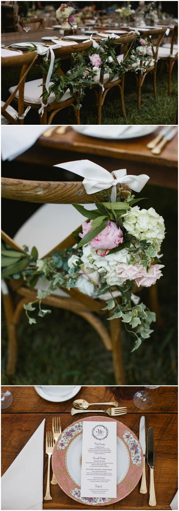 Romantic reception, table décor, pink chinaware, farm tables, cross-back chairs // Love Me Do Photography
