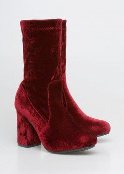 Kylie velvet sock boot, Μπορντό