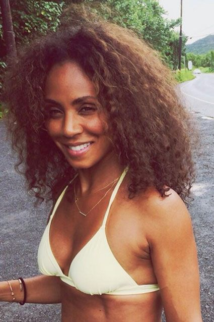 "JADA PINKETT SMITH  Forty-something star Jada Pinkett Smith flashed her bikini body on June 11, 2014. Will Smith's wife tweeted: ""Aloha...from one of my favorite places. Much love to you all."""