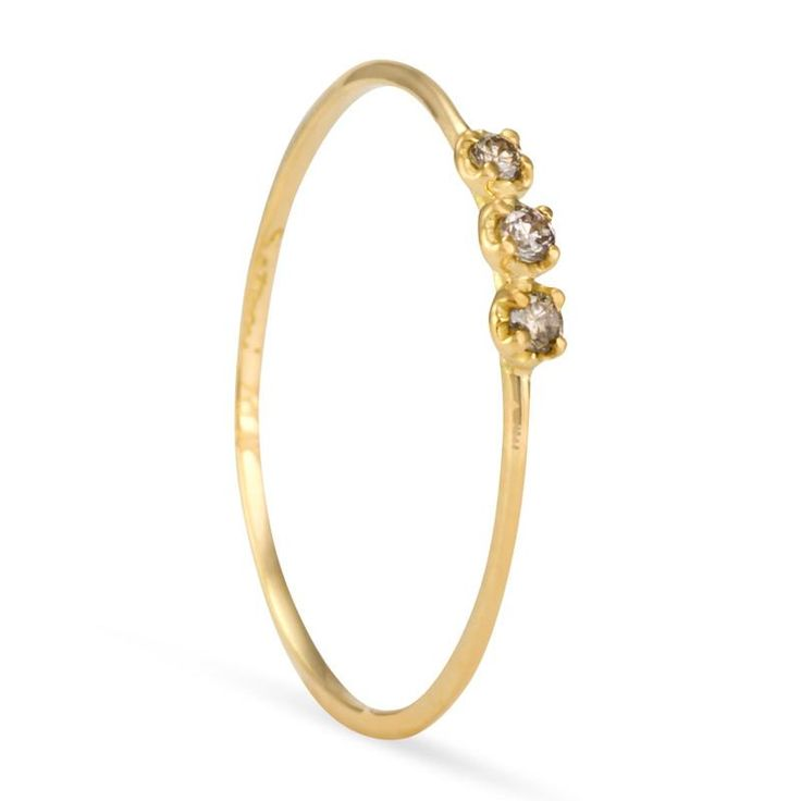 Orion Brown Diamond Ring 2.5mm (top), 0.7-0.9mm (width of band), 0.7-0.9mm (thickness)Approx. 0.045 total carat weightbrowndiamond (VS, C3-C4 color)shiny fini