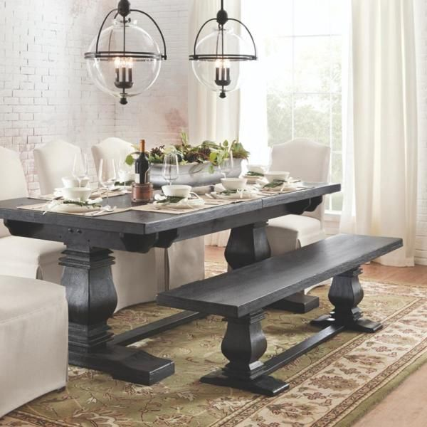Aldridge Washed Black Extendable Dining Table Nb023wb In 2020