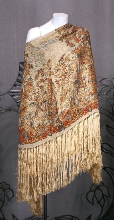 Art Deco Lame Silk Fringed Shawl Vintage Shawls Scarves