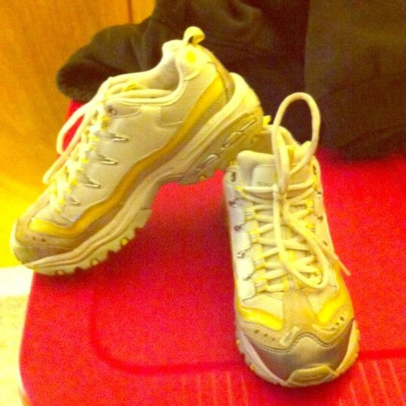 Old School Sketcher Tennis Shoe Yellow, grey and white Sketcher Sport Trail Tennis Shoes. Slightly worn (probably 4 times). Sketchers Shoes