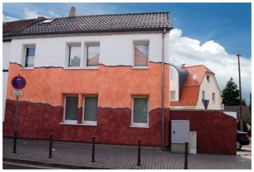Besondere Fassadengestaltung in rot vom Malerbetrieb Jürgen König in Ingelheim am Rhein (55218)   Maler.org
