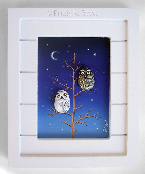 Mini 3-D Painting with Owls by Roberto Rizzo by RobertoRizzoArt