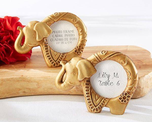 Lucky Golden Elephant Frame Indian Wedding Favors (Kate Aspen 25243GD) | Buy at Wedding Favors Unlimited (http://www.weddingfavorsunlimited.com/lucky_golden_elephant_frame_indian_wedding_favors.html).