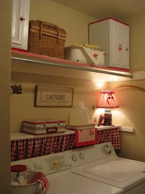 "Red  white laundry room - this pin doesn't link to the source.  If anyone knows where it came from, I'd love to give credit - all I've found is ""Brookhollow Lane blog""."