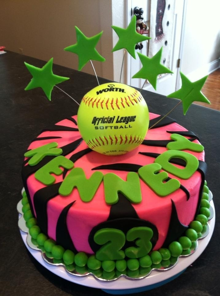Happy Birthday Softball Mom Cake