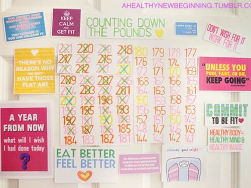 good motivation board and success log. how can you take a step backwards when you have to look at THIS everyday?