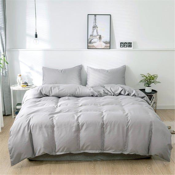 Soft Duvet Cover Set Solid Bedding Set Silver Gray Duvet Cover Etsy Gray Bed Set Grey Bedding Gray Duvet Cover