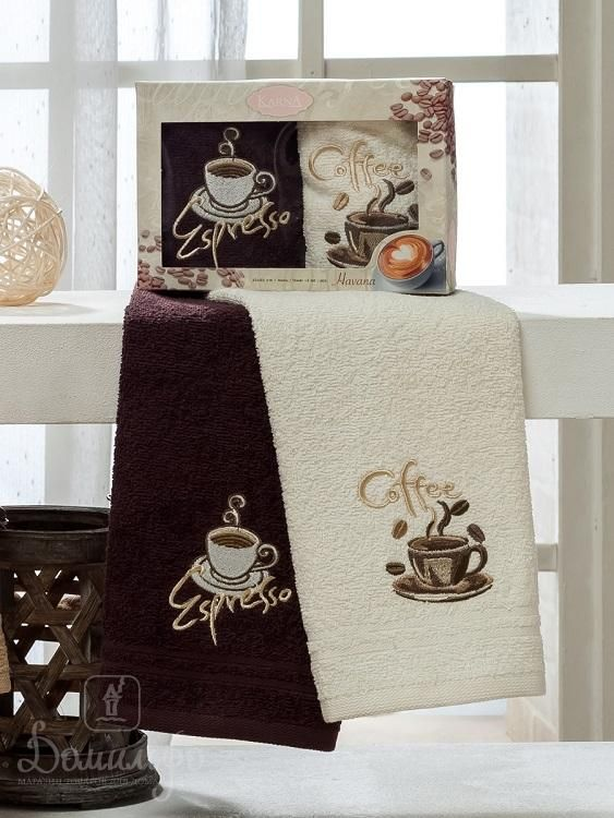 Набор полотенец с вышивкой KARNA HAVANA V1 30х50 (2шт) от Karna (Турция) - купить по низкой цене в интернет магазине Домильфо