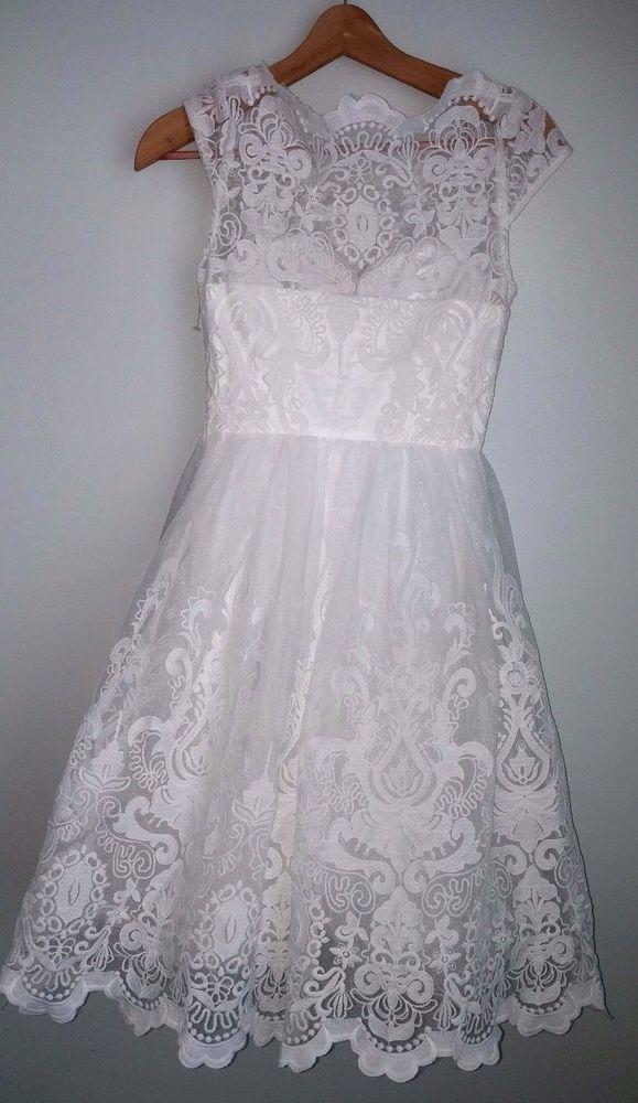 NWT SOLDOUT chi chi london aerin white wedding bardot neck midi dress uk 6 us 2 #chichilondon #midi #Formal