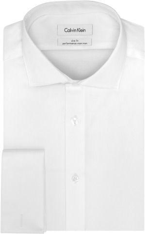 Calvin Klein Men's Non Iron Slim Fit Steel French Cuff Dress Shirt
