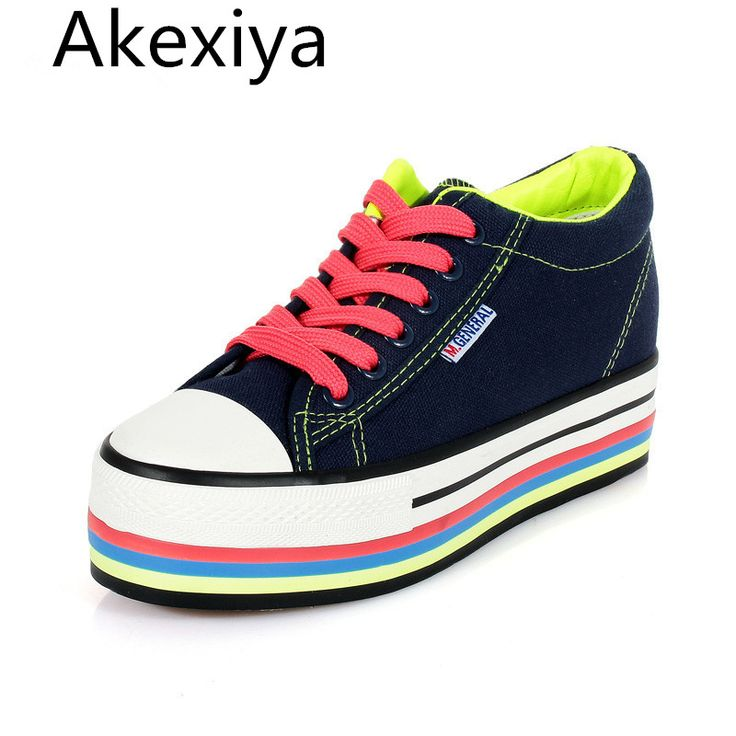 Akexiya Women's Platform Shoes 2017 Breathable Canvas Shoes Women Casual Shoes Thick Bottom White Trainers Ladies Zapatos Mujer