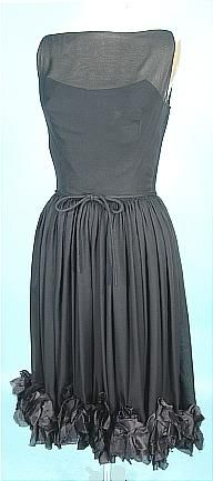 c. 1950's MAURICE RENTNER ORIGINAL Black Silk Chiffon Party Dress with Ruffled Hemline