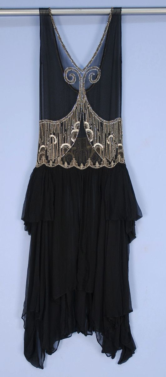 Deco Beaded Chiffon Over-Dress - 1920's -