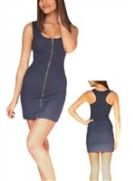 sexy body con dress with zipper in denim, party dresses in denim, sexy cleavage dress to go out in, super sexy zipper cleavage dress that is a mini dress, sexy denim mini dresses, 80's dress, 90's dress is glam, sexy dresses with stretch, body con fit