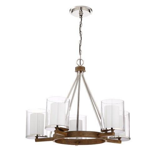 Craftmade Lark Polished Nickel And Whiskey Barrel 28 Inch Five Light Chandelier On SALE